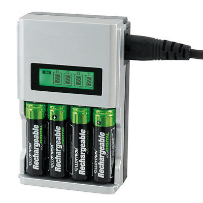 1 Hour SUPER FAST LCD AA or AAA Mains Battery Charger NiMh or NiCad NE8
