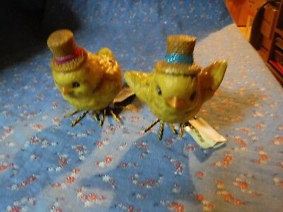 "Two Cute Grasslands Road Chicks  Easter Bonnets  About 2 3/4"" High"