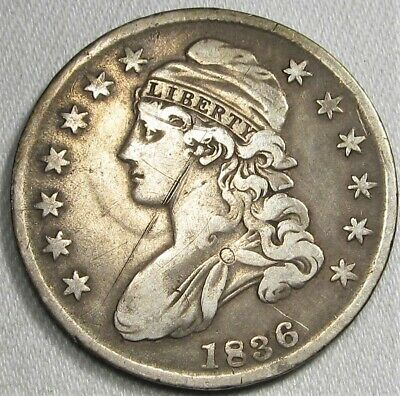 1836 Capped Bust Silver Half Dollar VF Details Coin AG47