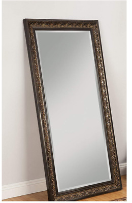Large Full Length Floor Mirror Antique Gold Brown Ornate Carved Leaning Wall