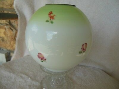 antique victorian gwtw hand painted 0il lamp ball shade