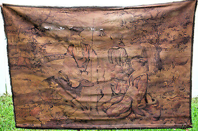 "LARGE ANTIQUE CHINESE EMBROIDERY TAPESTRY 49"" X 69"" - 1 of 2"