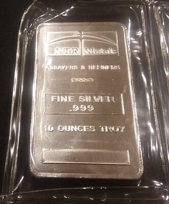 10 Troy Oz Silver Bar .999 Fine - NTR Metals ~Sealed~ Must See!