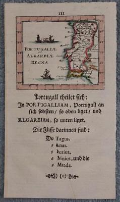 Portugal 1702 Johann Ulrich Müller Unusual Antique Copper Engraved Miniature Map
