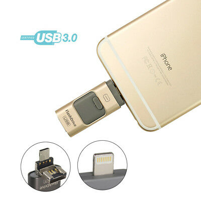 64/128GB i Flash Drive 3 in1 USB Stick Memory U Disk für Android/IOS iPhone PC