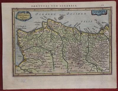 Portugal 1640 Mercator/hondius Unusual Antique Original Copper Engraved Map