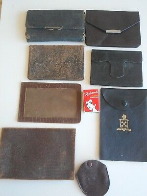 8 antique & vintage leather items. wallets, fob watch holder, frame,small purses
