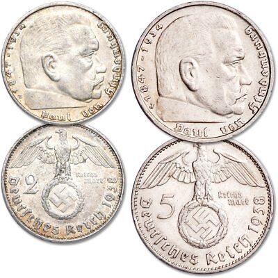 Rare German 2 & 5 Reichsmark WWII SILVER Coin Set with Big EAGLE