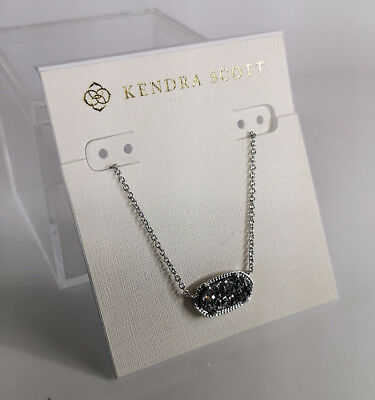 NWT Kendra Scott Elisa Pendant Necklace In Platinum Drusy / Silver