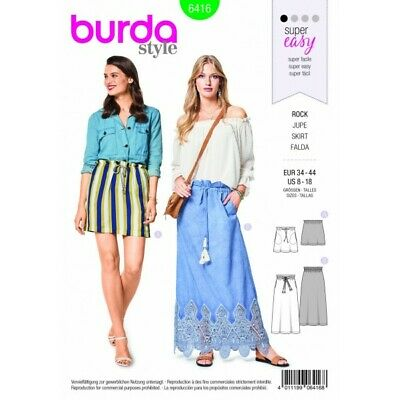 BURDA STYLE LONG Short Easy Skirt Fabric Sewing Pattern 6416 - £6.95 ...