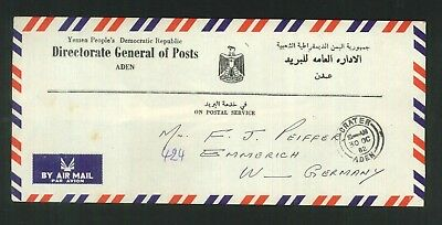 "Aden - 1982 ""On Postal Service"" commercial cover to West Germany."