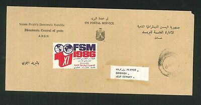 "Aden - 1986 ""On Postal Service"" commercial cover to West Germany."
