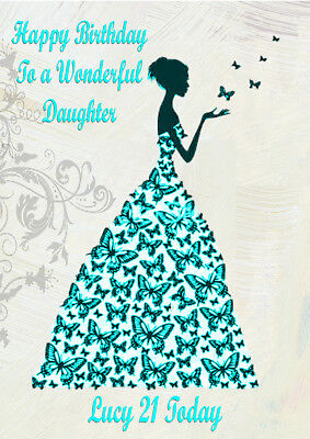 Personalised birthday card butterfly daughter granddaughter 13 14 16 18 21 30 40