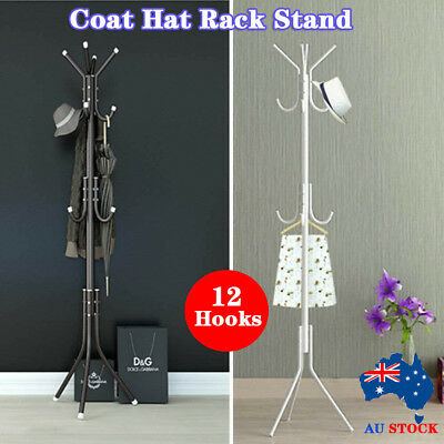 12 Hook Coat Hanger Stand 3-Tier Hat Clothes Rack Metal Tree Style Storage Shelf