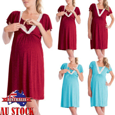AU Pregnancy Maternity Women Half Sleeve Lace V Neck Breastfeeding Nursing Dress