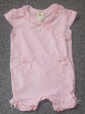 Tiny Ted Baby Girls Pink Embroidered Romper Suit ~ Age 3 - 6 Months