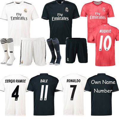 18-19 Football Kits BALE 11 Soccer Short Sleeve Jersey For Kids Boys 3-14Y+Socks