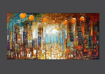 """Modernism Abstract Hand-Painted OIL PAINTING CANVAS """"Modern city""""(No Frame)"""