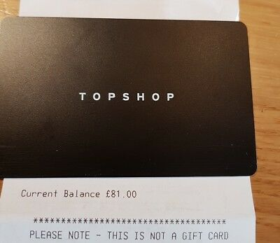 Top shop Gift Card. £117