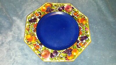 "Octagon shaped Barker Bros 8"" Fruit Plate C1930 with dark blue center"