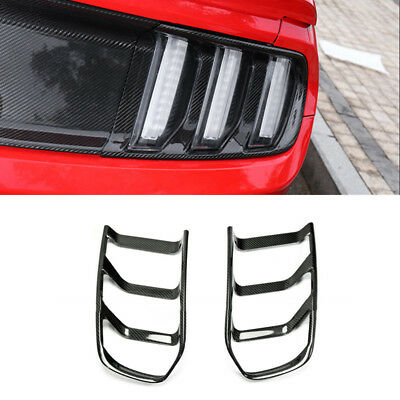 2pcs Dry Carbon Fiber Rear Light Tailling Cover Trims For Ford Mustang 2015-2017