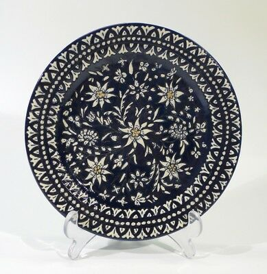 Early 20th Century Swiss Thonne Handpainted Sgraffito Decorated Plate.