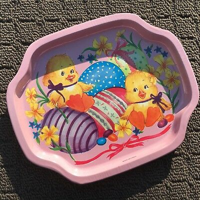 """BABY CHICKENS """"Musk Pink"""" Gorgeous Decorative Metal Biscuit Serving Tray Dish"""
