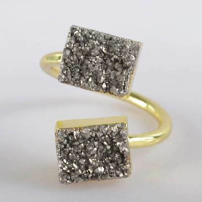 Size 7 Natural Agate Titanium Druzy Adjustable Ring Gold Plated B067856