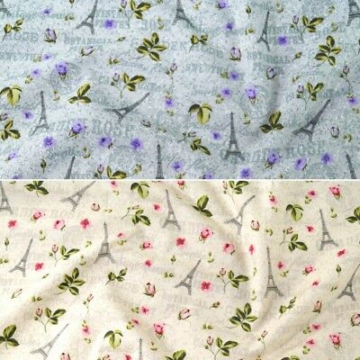100% Cotton Poplin Fabric John Louden Flowers Eiffel Tower France Paris Floral