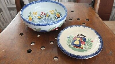 2  Small Vintage Pieces  Bowl & Pin Dish of Quimper Pottery