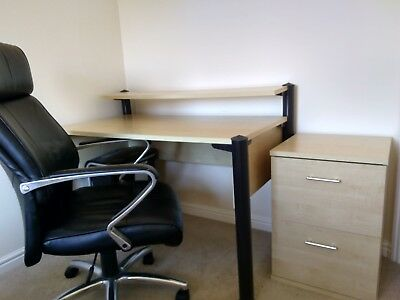Bargain!!-Desk, Pedestal and Leather chair-Cost new £600-Deliver within 10miles