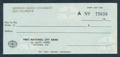 "Fiji: USA 1970s First National City Bank SCARCE CHEQUE ON ""LAUTOKA"""