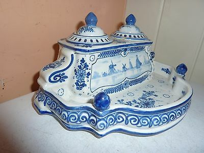 Boch La Louviere Delft Style 21Cm Double Ink Stand With Windmill/boat/flower Dec