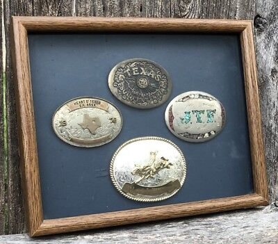 Lot Of 4 Vintage Belt Buckles Framed: Corral & Turquoise/Bull Rider/2-Texas