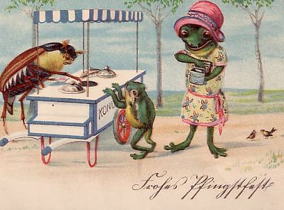 SCARCE: WHITHSUN HUMANIZED FROGs COCKCHAFER selling ICECREAM 1935 MUST L@@K !!!
