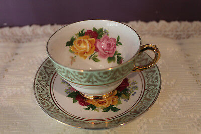 Regency England Tea Cup And Saucer - Pale Green With Cabbage Rose