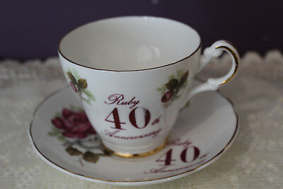Argyle 'ruby 40Th Anniversary' Tea Cup And Saucer Made In England
