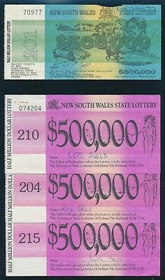 Australia: NSW STATE LOTTERY. 1980s HOARD 6 tickets including RARE JOINED PAIR