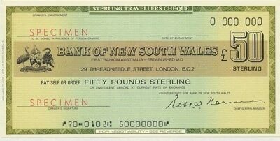 "Australia: 1971 Bank of NSW RARE £GB50 & $US50 ""SPECIMEN"" TRAVELLERS CHEQUES"