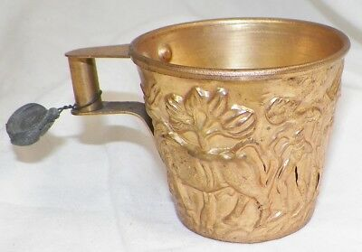 Vintage Brass Vapheio Greek Bulls Gilt Cup Hand Made With Intact Lead Seal