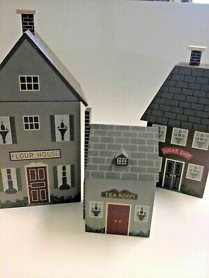 3 Piece Wooden Village Houses Canister Set