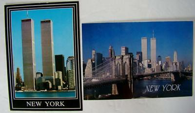 Lot 2 World Trade Center Twin Towers Postcard WTC NY NYC Unused ALFRED MAINZER