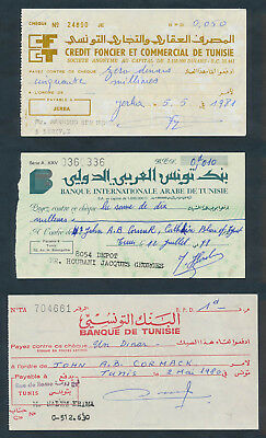 "Tunisia: 1978-81 ""COLLECTION OF 3 DIFFERENT CHEQUES"". In French & Arabic"