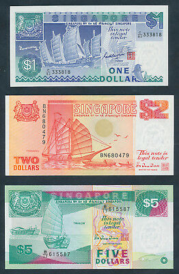"Singapore: 1987-97 $1, $2 & $5 Ships - $1 WITH LUCKY NO.""333"". P18a, 27 & 29 UNC"