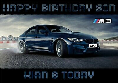 personalised birthday card BMW M3  sports car any name/age/relation
