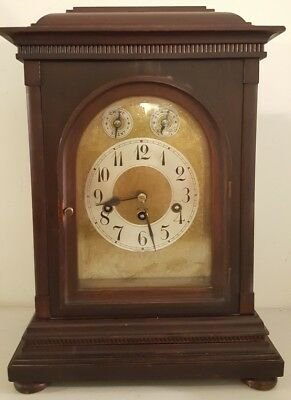Antique 19th C. JUNGHANS Mahogany Westminster Chime Bracket Mantel Shelf Clock