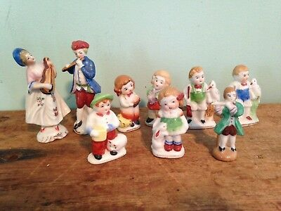 Lot of 9 Occupied Japan Miniature Figurines~ Hand Painted Porcelain