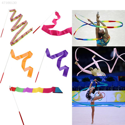 1C09 4M Gym Dancing Ribbon Art Training Colors Streamer Twirling Rod W/Stick