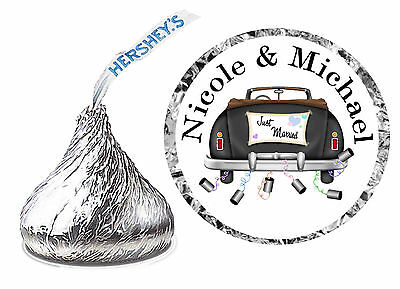 216 Wedding Party Favors Hershey Kiss Kisses Labels ~ Just Married Car