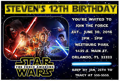 Star Wars The Force Awakens Birthday Party Invitations Design